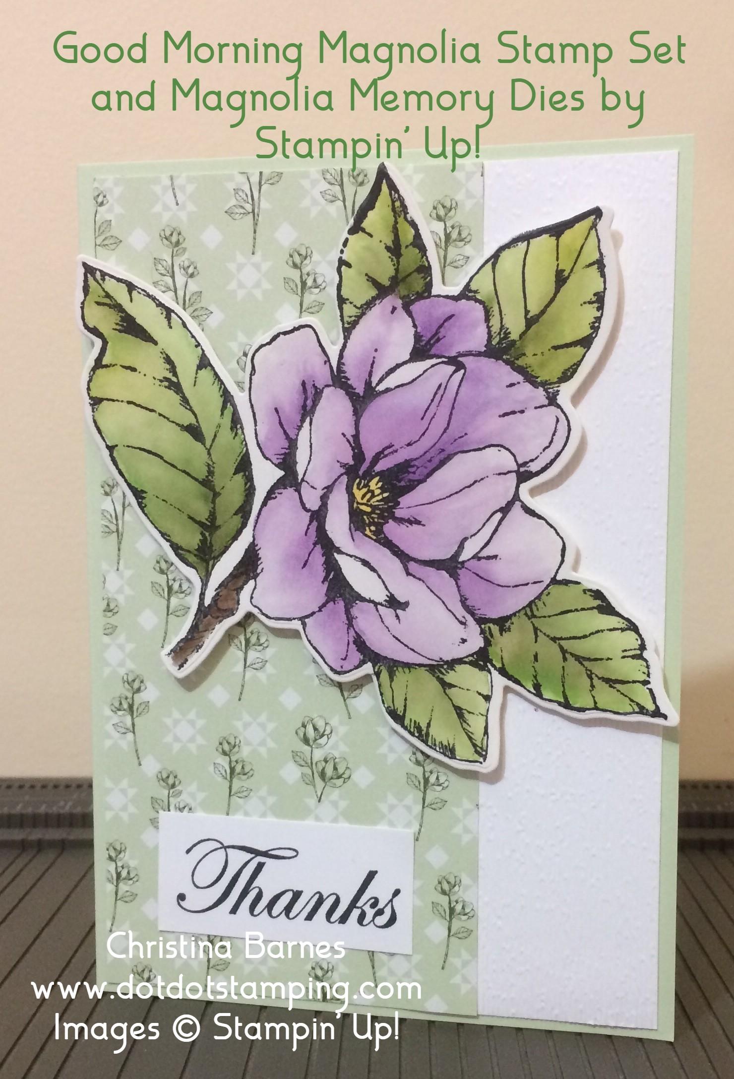 Purple Watercoloured Magnolia Card