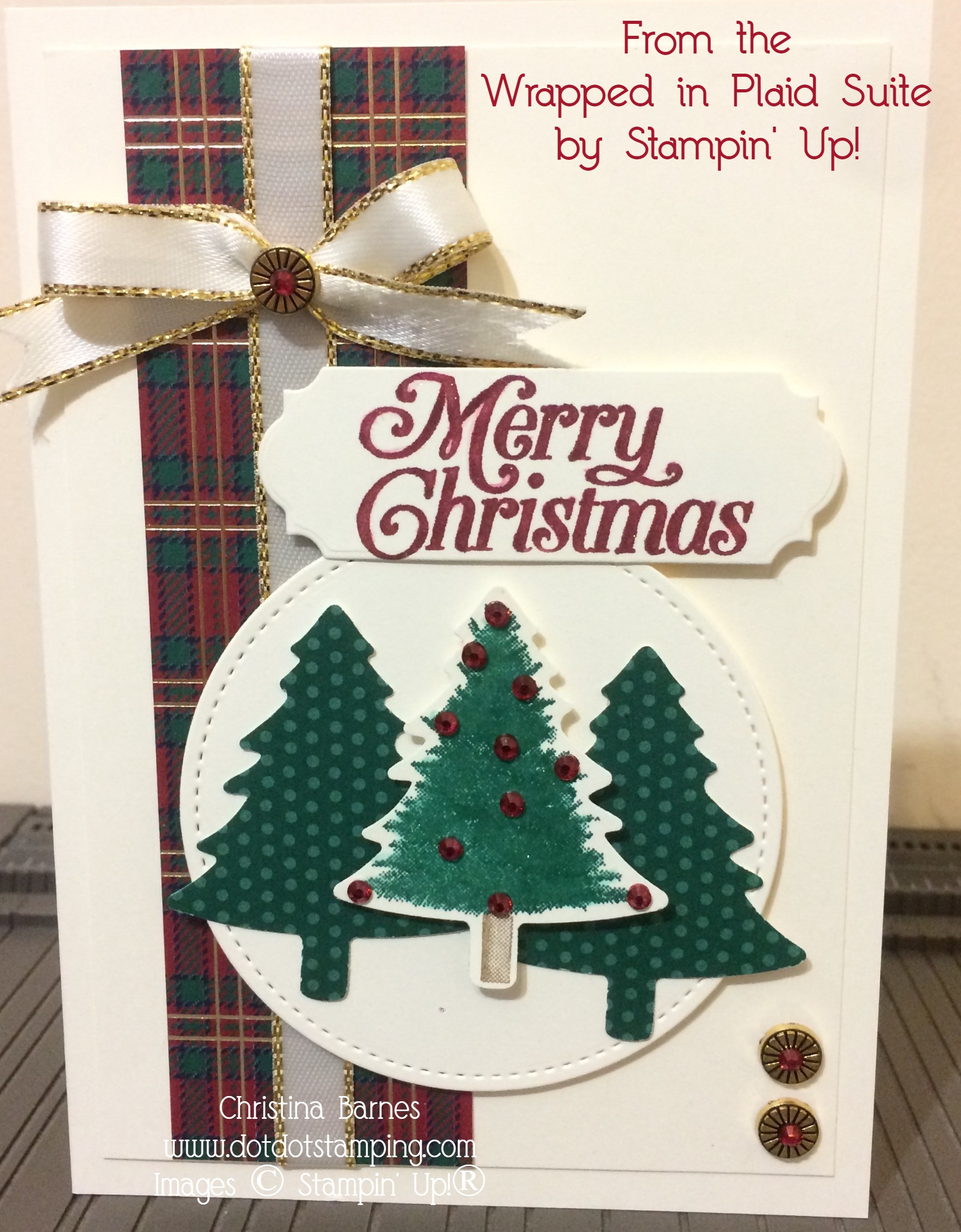Christmas Card Wrapped in Plaid by Christina Barnes Dot Dot Stamping 2019 Holiday Catalogue