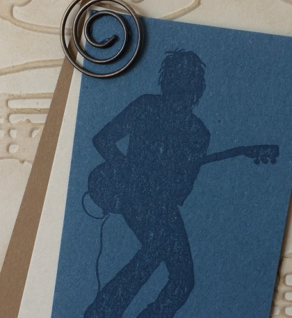 Masculine Card Christina Barnes Dot Dot Stamping Guitar Silhouette Music
