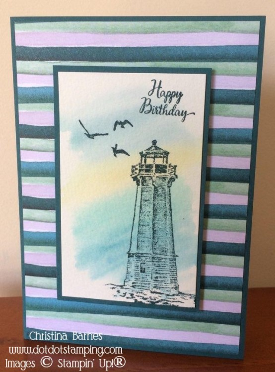 Masculine Lighthouse Card Stampin' Up! 2020 Christina Barnes Dot Dot Stamping 1