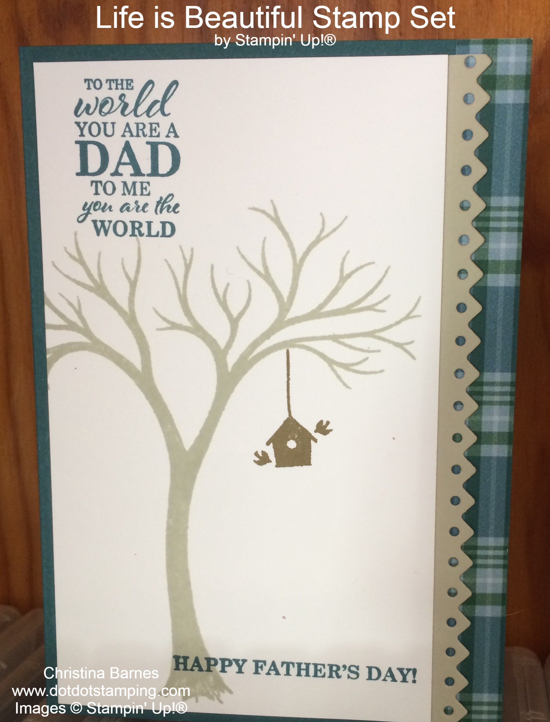 Life is Beautiful Father's Day Card 2020 Plaid Tidings Stampin' Up! Christina Barnes Dot Dot Stamping